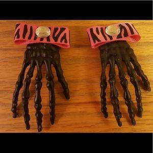 2 Black ZOMBIE Hand Hair Clips Skeleton Barrettes